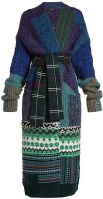 Tie-waist patchwork-knit cardigan
