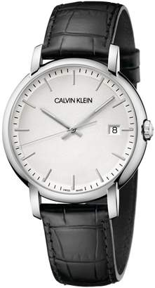 Calvin Klein Established Silver Dial Leather Watch
