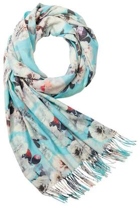 Love & Lore LOVE AND LORE SOFT TWILL SCARF SWEETHEART FLORAL BLUE