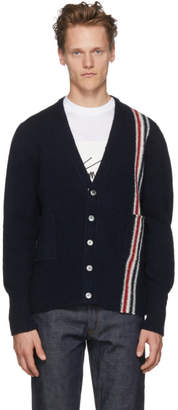 Thom Browne Navy Classic V-Neck Stripe Cardigan