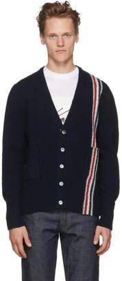 Thom Browne Navy Classic V-Neck Stripe Cardigan