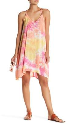 Love Stitch Tie-Dye Stripe Sleeveless Asymmetrical Shift Dress