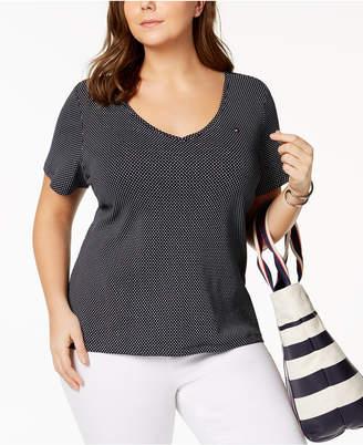 Tommy Hilfiger Plus Size Polka Dot Cotton V-Neck T-Shirt