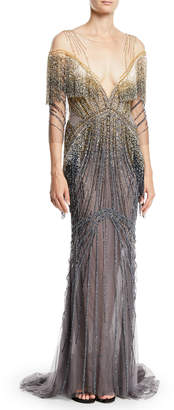 Pamella Roland Beaded-Embellished Illusion Column Evening Gown