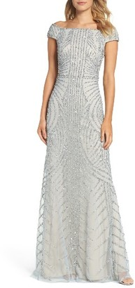 Women's Adrianna Papell Off The Shoulder Beaded Gown $329 thestylecure.com
