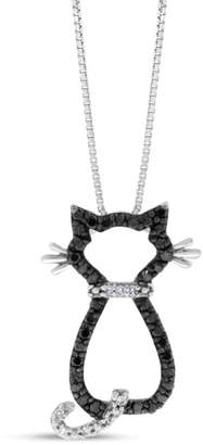 10k White Gold 0.28 Ct. Natural Black & White Diamond Kitty Cat Pendant