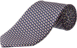 Salvatore Ferragamo Navy Rocking Horse Silk Tie