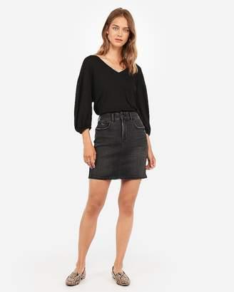 Express High Waisted Denim Perfect Black Ripped Mid-Thigh Skirt