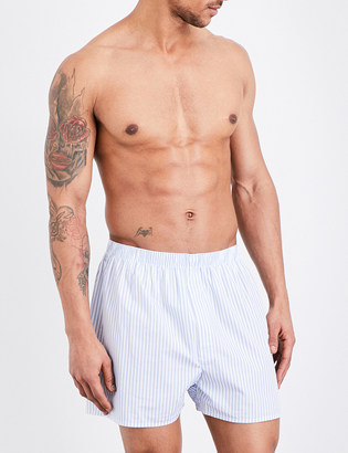 Sunspel Striped woven-cotton boxers $37 thestylecure.com