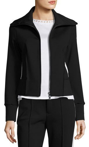 Moncler Moncler Stretch Jersey Zip-Front Cardigan, Black