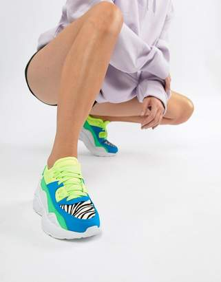Jeffrey Campbell bright panelled chunky trainer