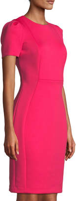 Iconic American Designer Exposed Back Zip Fitted Sheath Dress