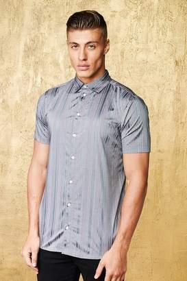 boohoo Metallic Stripe Short Sleeve Muscle Fit Shirt