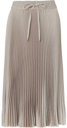 RED Valentino Pleated Satin Midi Skirt - Gray