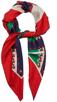 Gucci Chain-print silk-twill scarf