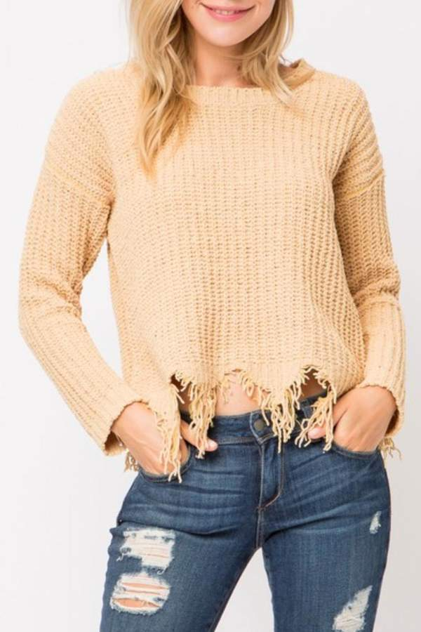Cozy Casual Distressed Knit Sweater