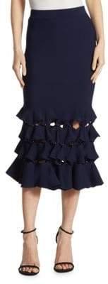 Jonathan Simkhai Slashed Knit Trumpet Midi Skirt