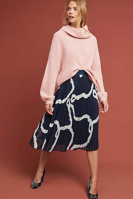 Anthropologie Abstract Pleated Midi Skirt