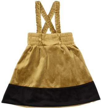 Two Tone Velvet Skirt With Suspenders