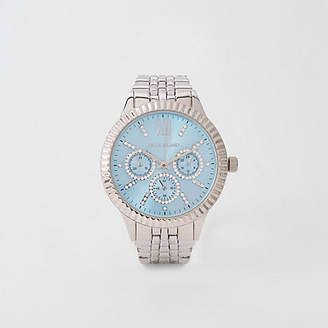 River Island Silver blue round face chain link strap watch
