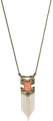 Lux Accessories Burnished Goldtone & Coral Arrow Chain Link Necklace