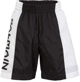 Balmain Two-Tone Logo-Sides Swim Shorts, Size 12-16