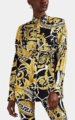 Versace Women's Savage Baroque Silk Blouse - Black