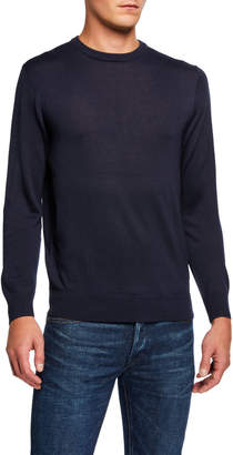 Neiman Marcus Men's Basic Wool-Blend Pullover Sweater