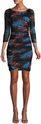 Diane von Furstenberg Ruched Floral-Print 3/4-Sleeve Short Dress