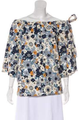 Chloé Off-The-Shoulder Printed Blouse w/ Tags