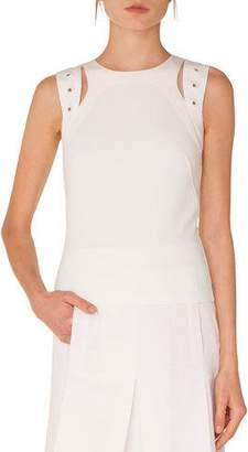 Akris Punto Round-Neck Sleeveless Cutout Eyelet Shoulder Jersey Top