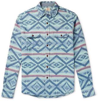 Faherty Belmar Printed Brushed Cotton-Jacquard Shirt - Men - Light blue