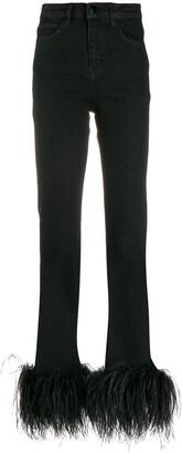 16Arlington Ostrich feather embellished jeans