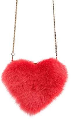 Les Petits Joueurs Fox Fur Heart Shoulder Bag