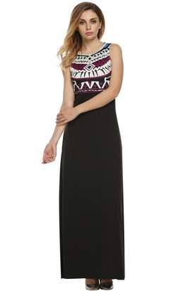 ANGVNS Women Empire Waist Maxi Dress Summer Bohemian Tank Tops Long Dress Casual