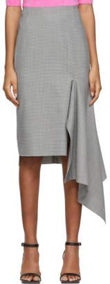 Balenciaga Black and White Houndstooth Side Godet Skirt