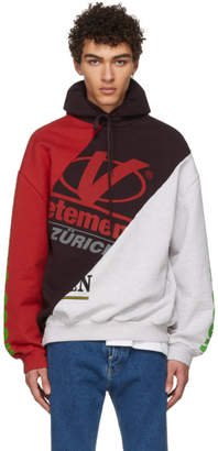 Vetements Grey and Red Cut-Up Hoodie