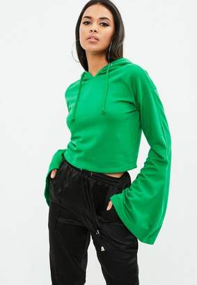 Missguided Green Cropped Flared Sleeve Hoodie