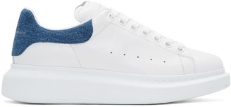 Alexander McQueen White Denim Oversized Sneakers $575 thestylecure.com