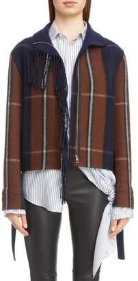 Loewe Plaid Fringe Trim Wool & Cashmere Jacket