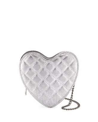 Hannah Banana Girls' Metallic Quilted Heart Crossbody Bag