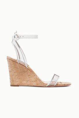 Aquazzura Minimalist 85 Leather And Pvc Wedge Sandals - White