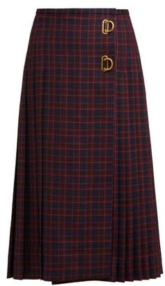 Burberry Pleated Tartan Wool Skirt - Womens - Navy Multi