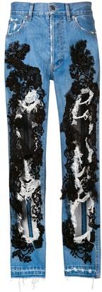 Almaz distressed lace jeans