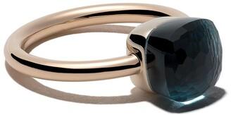 Pomellato 18kt rose & white gold Nudo Petit blue topaz ring