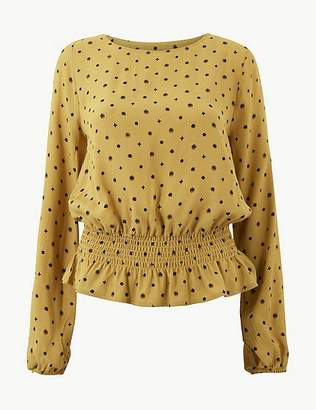 188a5280a70de8 Marks and Spencer Printed Round Neck Long Sleeve Blouse