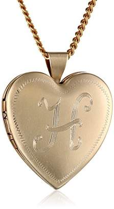 """N. 18k Gold-Plated Initial """"I"""" Heart 26mm (1"""") Locket Necklace"""