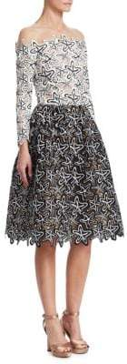 Oscar de la Renta Illusion Starfish Off-the-Shoulder Dress