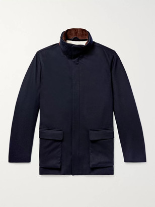 Loro Piana Winter Voyage Suede-Trimmed Storm System Baby Cashmere Field Jacket - Men - Blue