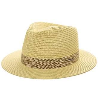 43653b7536e14 BEIGE Jeff & Aimy Mens Womens Straw Fedora Trilby Sun Hats UPF Wide Brim  Foldable Summer